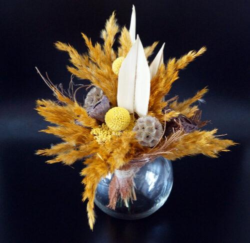 Trockenblumen Strauß in Ockertönen